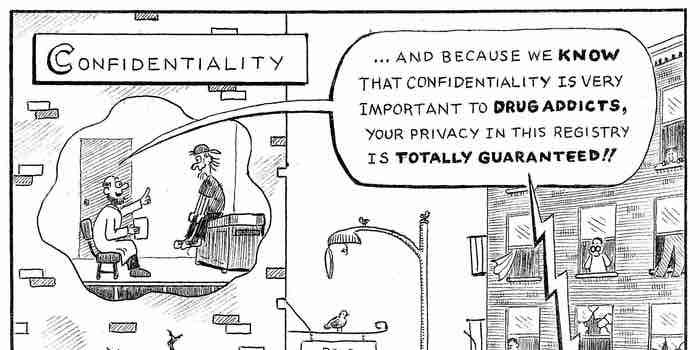 Funny cartoon of the DEA listening in on a recruitment conversation