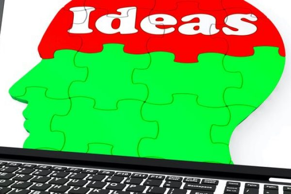 Ideas On Brain On Laptop Shows Technology Inventions, Creativity And Imagination